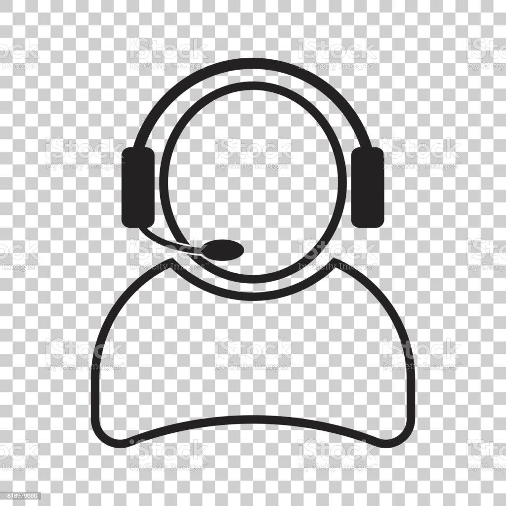 Operador con icono de vector de micrófono. Operador de call center ilustración. - ilustración de arte vectorial
