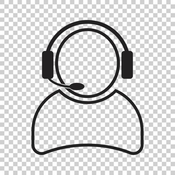 operator with microphone vector icon. operator in call center illustration. - call center stock illustrations, clip art, cartoons, & icons