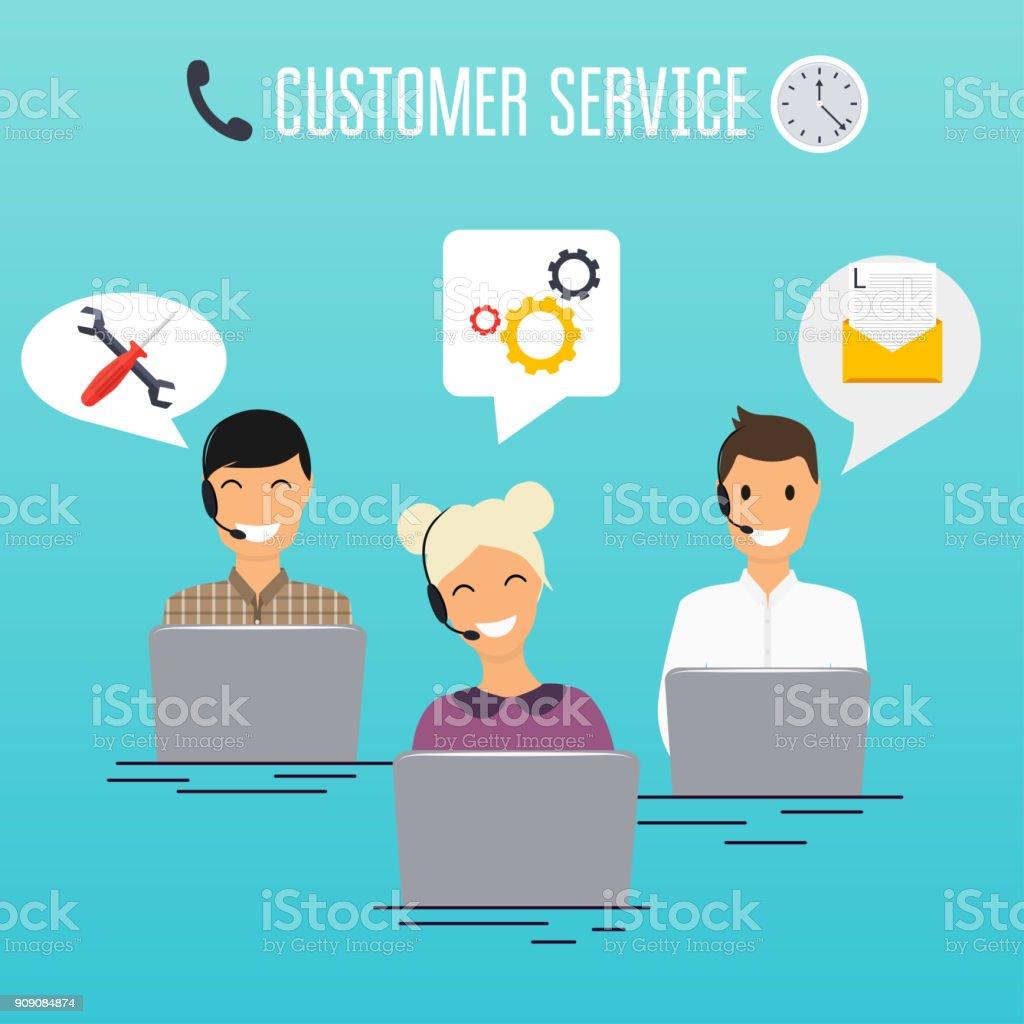 Operadores de la oficina de centro de llamada en auriculares con ordenador portátil. Diseño de servicio al cliente. Soporte en línea. - ilustración de arte vectorial