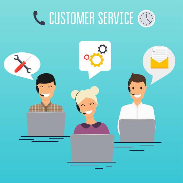 illustrations, cliparts, dessins animés et icônes de opérateurs de bureau de centre d'appel travaillant dans les écouteurs avec ordinateur portable. conception de service client. support en ligne. - centre d'appels