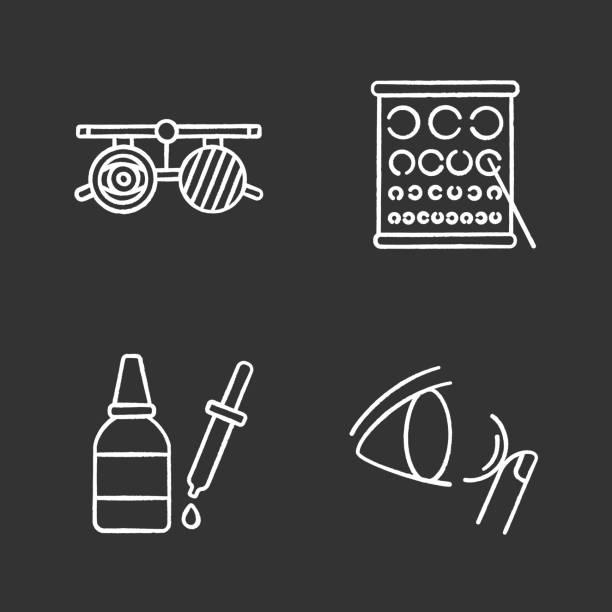 ilustraciones, imágenes clip art, dibujos animados e iconos de stock de iconos de oftalmología - optometrista