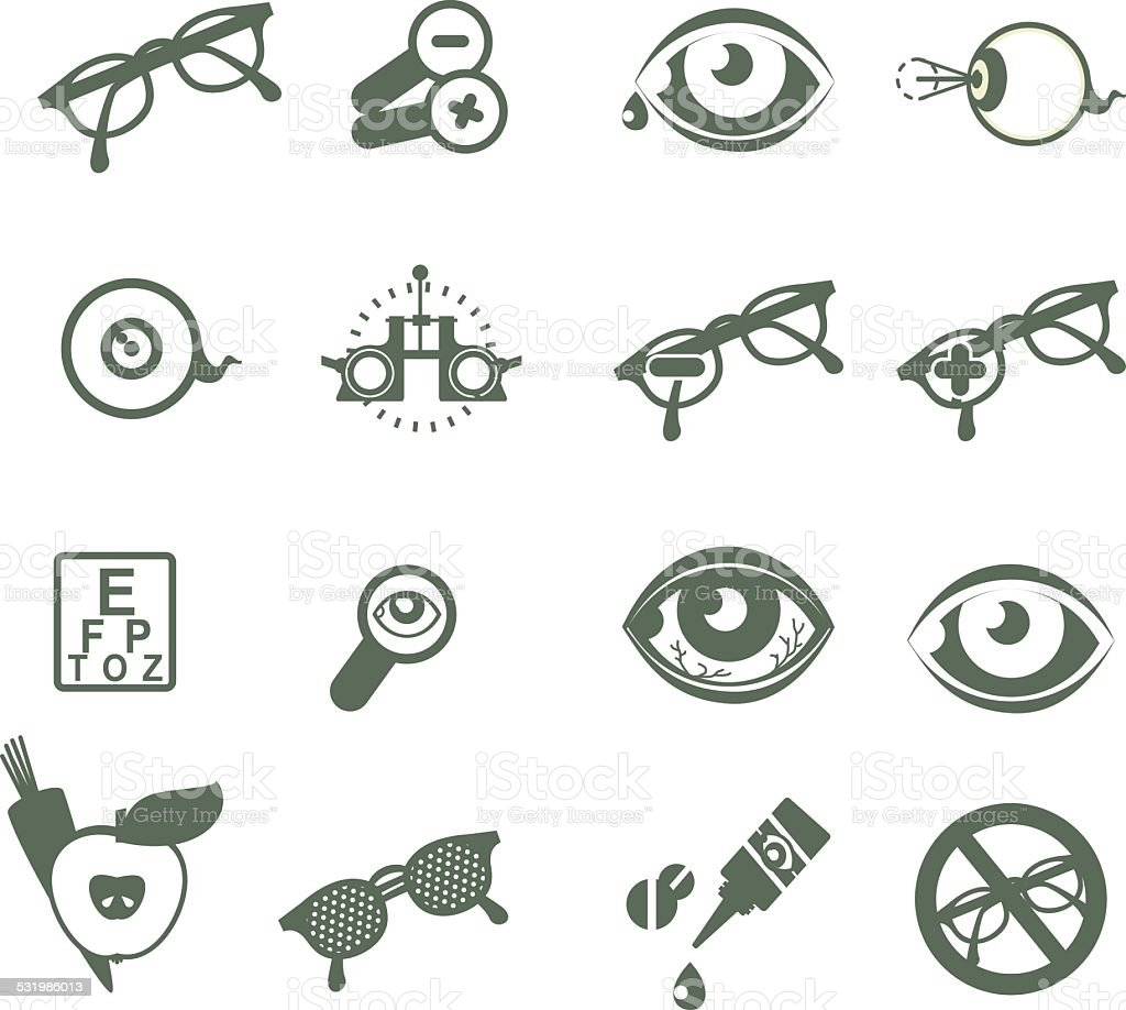 ophthalmic icons vector art illustration