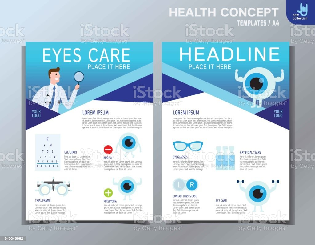 Ophthalmic infographic element. Eye Care Vector Icon Set. Medical health care  flyer banner leaflet brochure template A4 size design. modern abstract multipurpose style annual report book cover layout vector art illustration