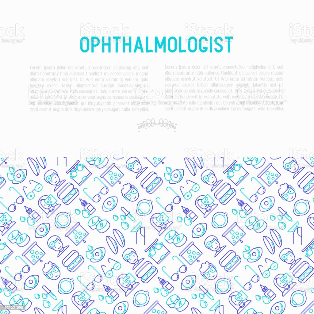 Ophthalmologist concept with thin line icons: glasses, eyeball, vision exam, lenses, eyedropper, spectacle case. Modern vector illustration for banner, print media, web page. vector art illustration