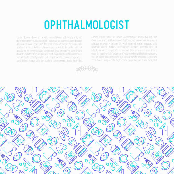 ophthalmologist concept with thin line icons: glasses, eyeball, vision exam, lenses, eyedropper, spectacle case. modern vector illustration for banner, print media, web page. - optometrist stock illustrations, clip art, cartoons, & icons