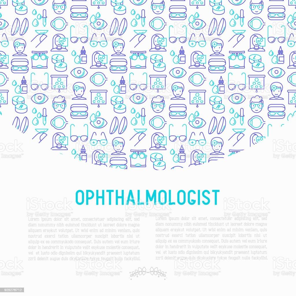 Augenarzt-Konzept mit dünne Linie Symbole: Augapfel, Vision Prüfung, Linsen, Pipette, Brille, Brillenetui. Moderne Vektor-Illustration für Banner, Printmedien, Web-Seite. – Vektorgrafik