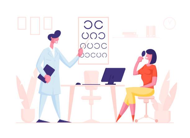 augenarzt arzt charakter check eyesight für brillen diopter zur frau. oculist mit zeiger checkup augenblick. professionelle optiker prüfung patienten vision. cartoon menschen vektor illustration - hausarzt stock-grafiken, -clipart, -cartoons und -symbole