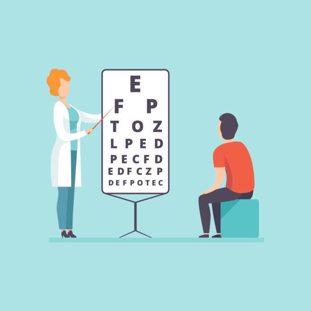 ilustraciones, imágenes clip art, dibujos animados e iconos de stock de médico oftalmólogo haciendo prueba de vista masculino tratamiento paciente, médico y profesional de la salud concepto vector ilustración - optometrista