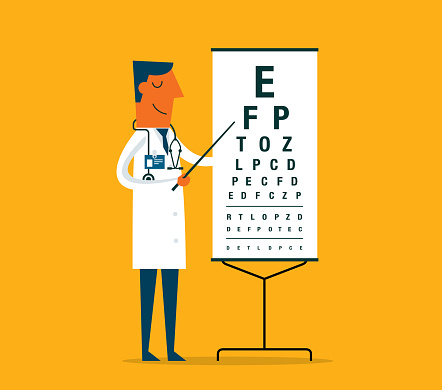 Ophthalmologist doctor doing eyesight test