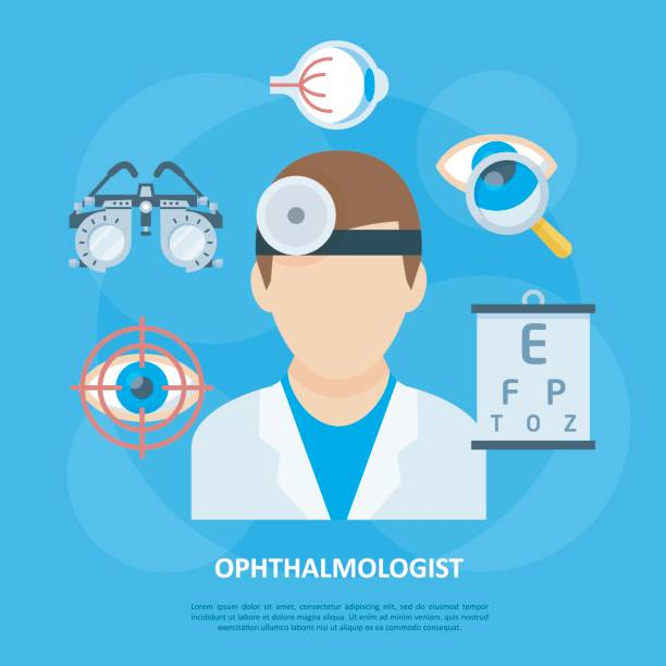illustrations, cliparts, dessins animés et icônes de poster de fond ophtalmologiste médecin icône - opticien