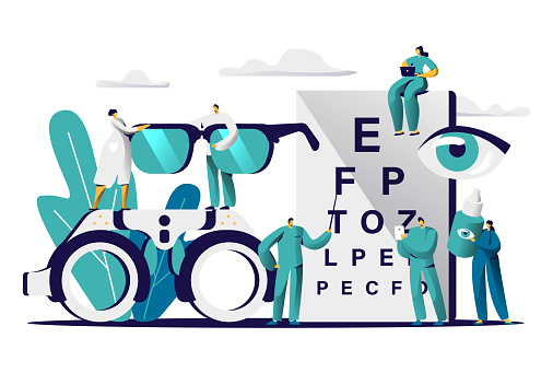 Ophthalmologist Doctor Test Myopia Eye. Male Oculist with Pointer Checkup Optometry for Eyeglasses. Medical Optician Team hold Eyewear, Drop for Treatment Flat Cartoon Vector Illustration