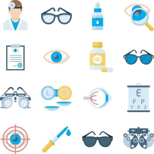 フラット スタイルの眼科機器アイコン - 検眼医点のイラスト素材/クリップアート素材/マンガ素材/アイコン素材