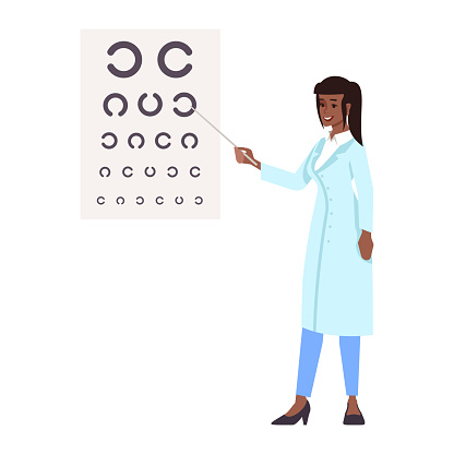 Ophthalmologist flat vector illustration. Professional doctor isolated cartoon character on white background. Oculist doing vision,eye sight test. Medical check, exam. Eyes health, care, treatment
