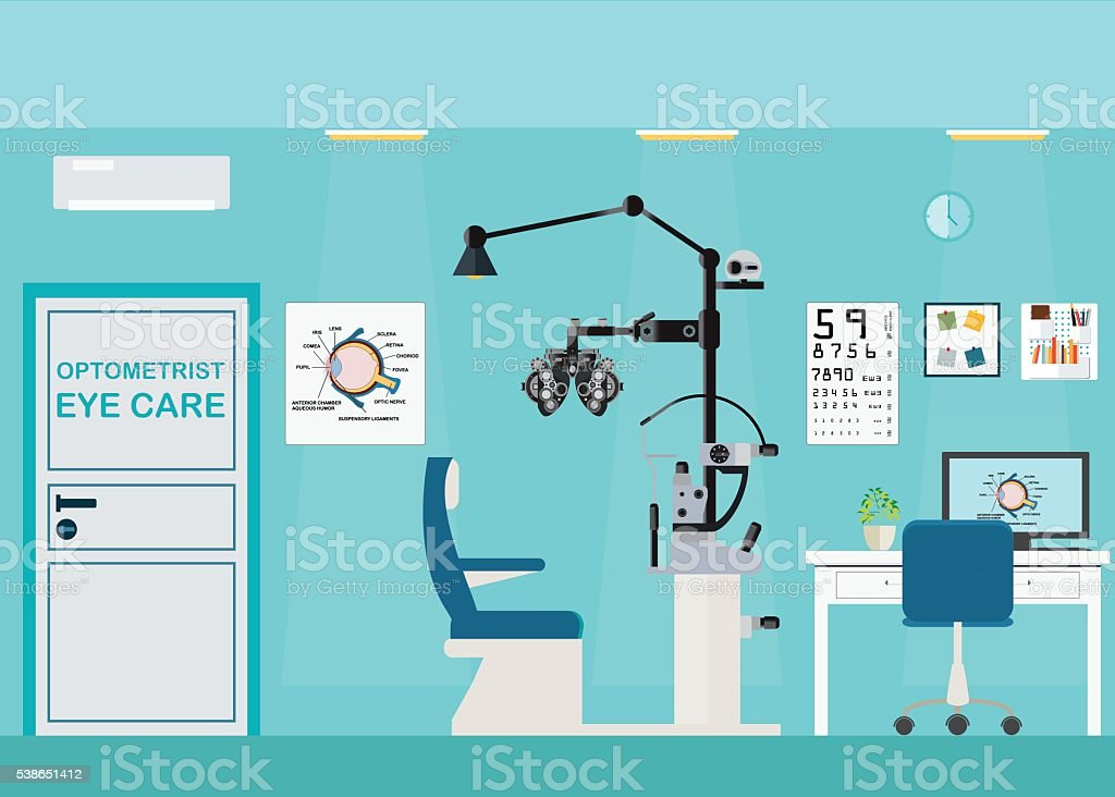 Ophthalmologist interior office with Phoropter. vector art illustration