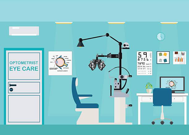 ilustraciones, imágenes clip art, dibujos animados e iconos de stock de oftalmólogo interior de oficina con foróptero. - optometrista