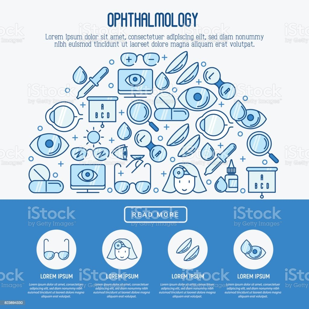 Ophthalmology concept with vision care thin line icons. Vector illustration for banner, web page, print media. vector art illustration