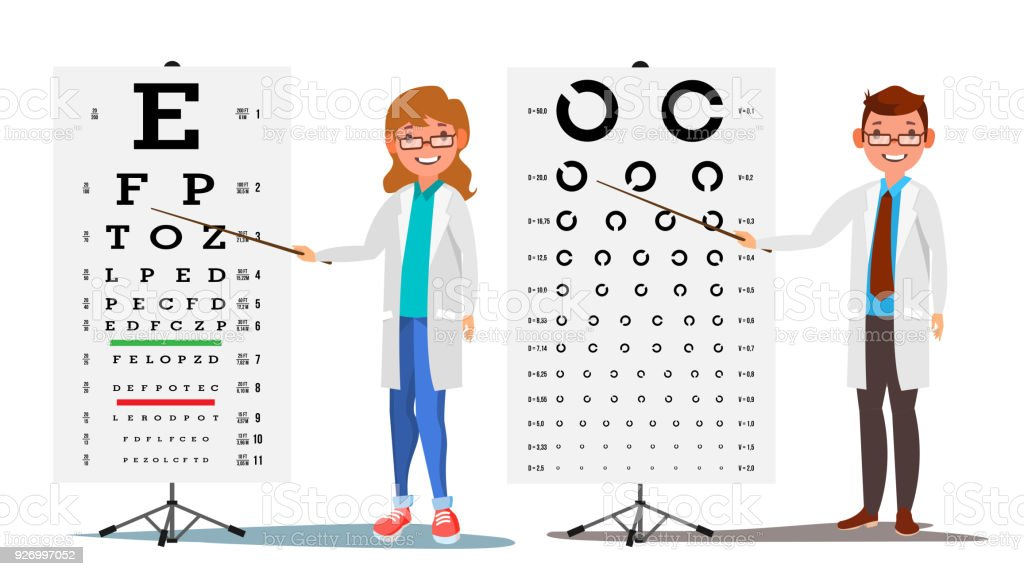 Ophthalmology Doctor Set Vector. Female, Male. Medical Eye Diagnostic. Eye Test Chart In Clinic. Diagnostic Of Myopia. Medicine Concept. Isolated Flat Cartoon Illustration vector art illustration