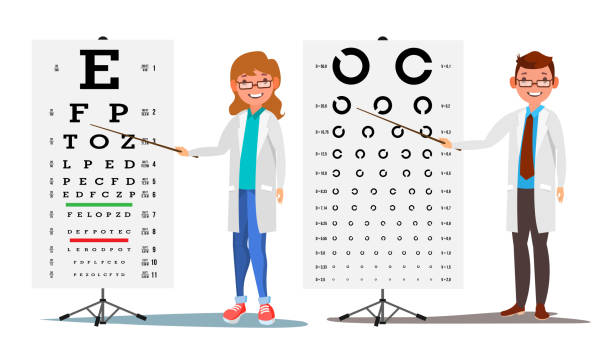 ophthalmology doctor set vector. female, male. medical eye diagnostic. eye test chart in clinic. diagnostic of myopia. medicine concept. isolated flat cartoon illustration - optometrist stock illustrations, clip art, cartoons, & icons
