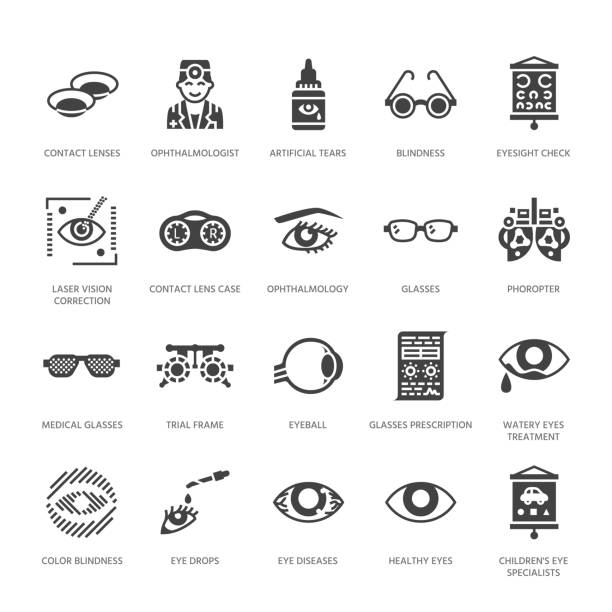 ophthalmology, eyes health care glyph icons. optometry equipment, contact lenses, glasses, blindness. vision correction signs for oculist clinic. solid silhouette pixel perfect 64x64 - оптометрия stock illustrations