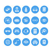 Ophthalmology, eyes health care glyph icons. Optometry equipment, contact lenses, glasses, blindness. Vision correction signs for oculist clinic. Solid silhouette pixel perfect 64x64