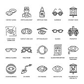 Ophthalmology, eyes health care line icons. Optometry equipment, contact lenses, glasses, blindness. Vision correction thin linear signs for oculist clinic