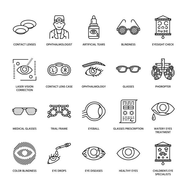 ilustraciones, imágenes clip art, dibujos animados e iconos de stock de oftalmología, cuidado de la salud de ojos línea de iconos. equipo de optometría, lentes de contacto, gafas, ceguera. visión corrección fina lineal hacia la clínica oculista - optometrista