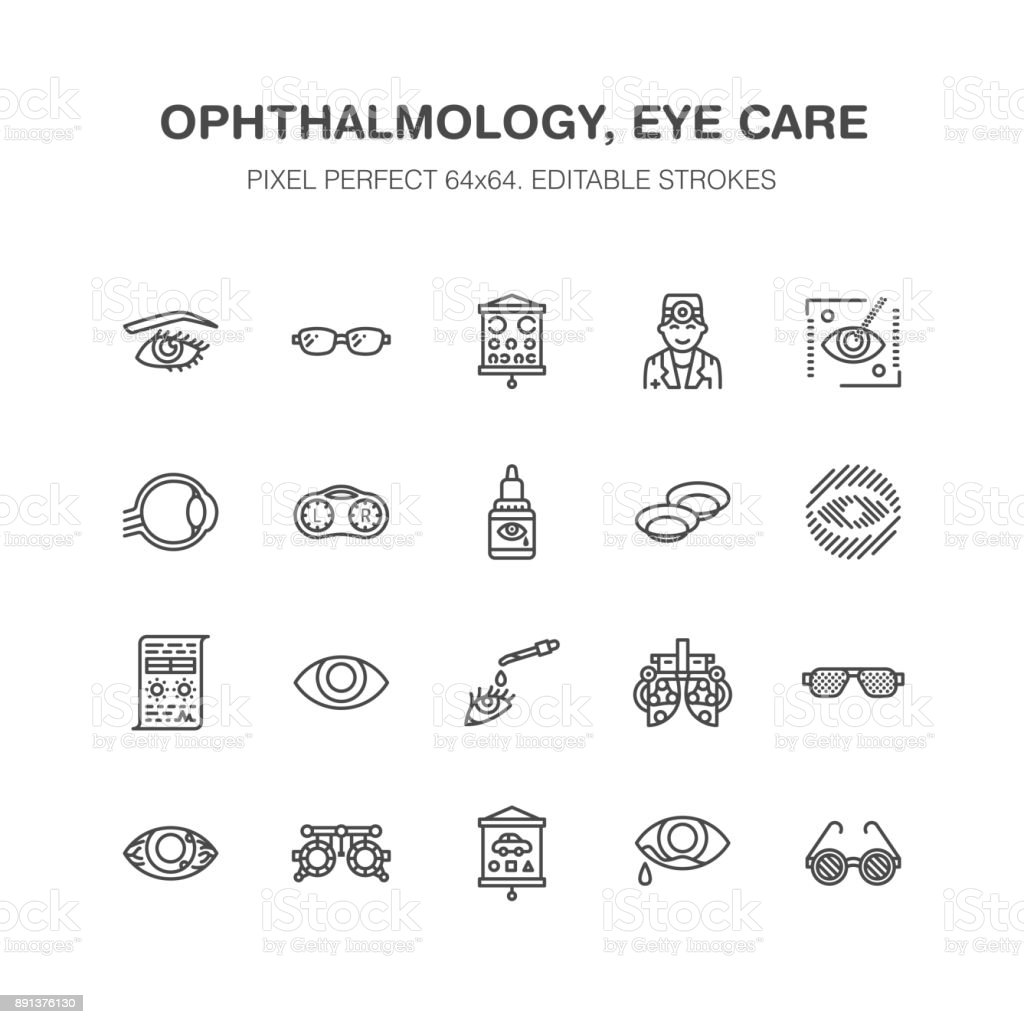 Ophthalmology, eyes health care line icons. Optometry equipment, contact lenses, glasses, blindness. Vision correction thin linear signs for oculist clinic. Pixel perfect 64x64 vector art illustration