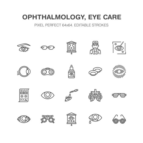 ilustrações de stock, clip art, desenhos animados e ícones de ophthalmology, eyes health care line icons. optometry equipment, contact lenses, glasses, blindness. vision correction thin linear signs for oculist clinic. pixel perfect 64x64 - contacts