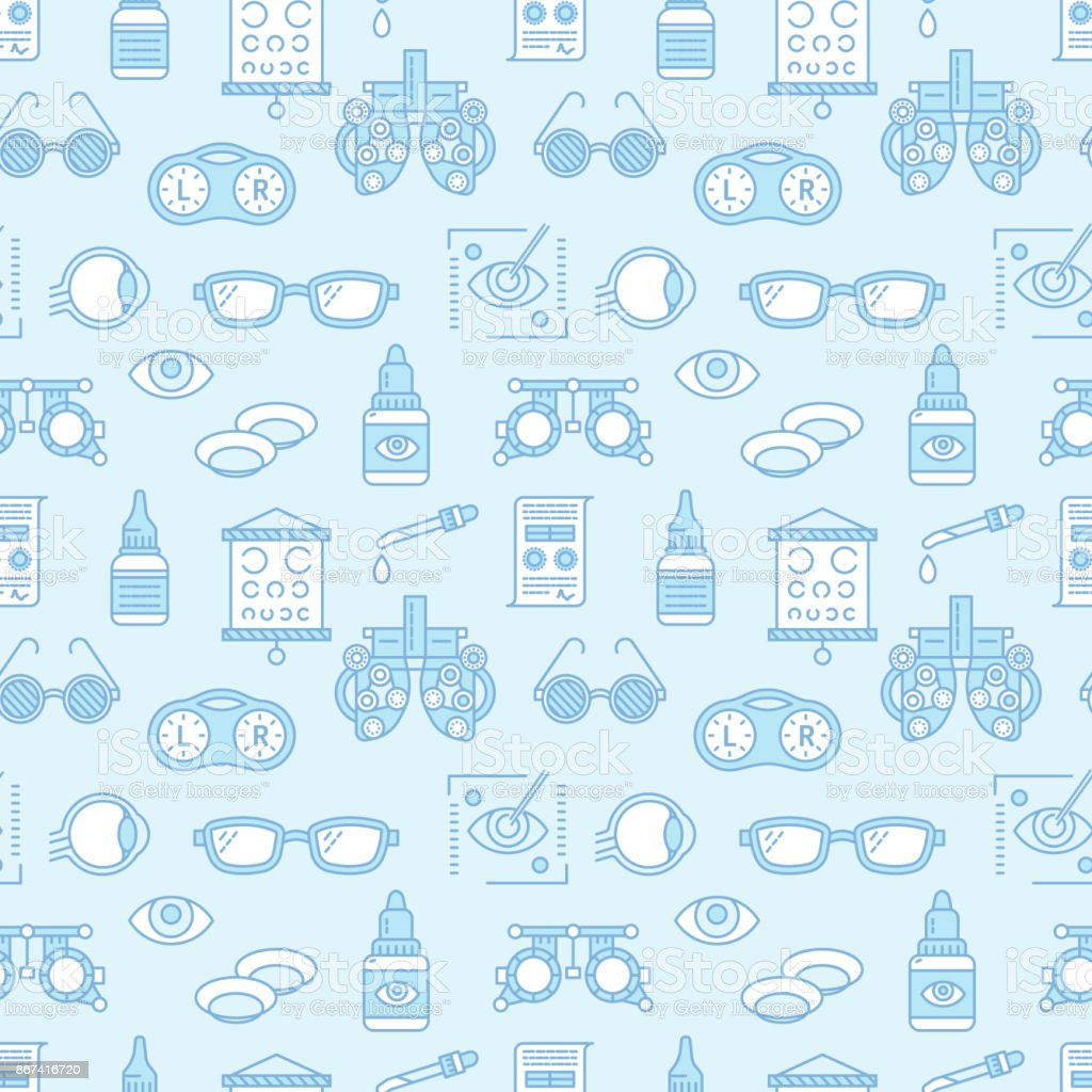 Ophthalmology, eyes health care seamless pattern, medical vector blue background. Optometry equipment, contact lenses, glasses line icons. Vision correction repeated illustration for oculist clinic vector art illustration