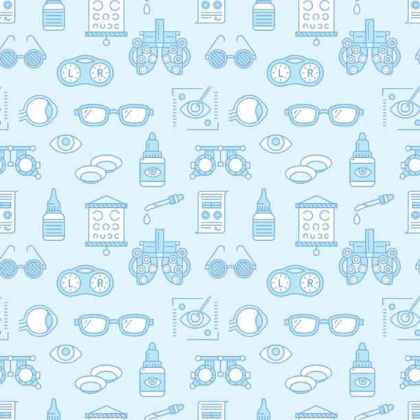 ophthalmology, eyes health care seamless pattern, medical vector blue background. optometry equipment, contact lenses, glasses line icons. vision correction repeated illustration for oculist clinic - optometrist stock illustrations, clip art, cartoons, & icons