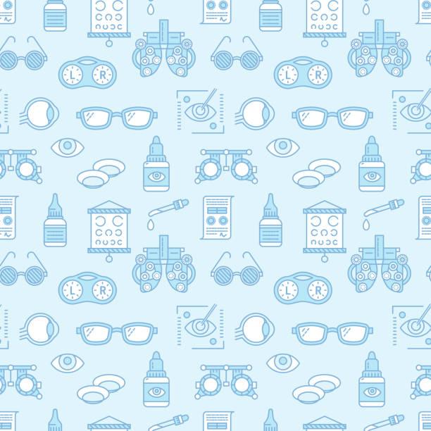 ilustraciones, imágenes clip art, dibujos animados e iconos de stock de oftalmología, salud patrón ojos, fondo médico vector azul. equipo de optometría, lentes de contacto, gafas de los iconos de la línea. corrección de la visión repetida ilustración clínica oculista - optometrista