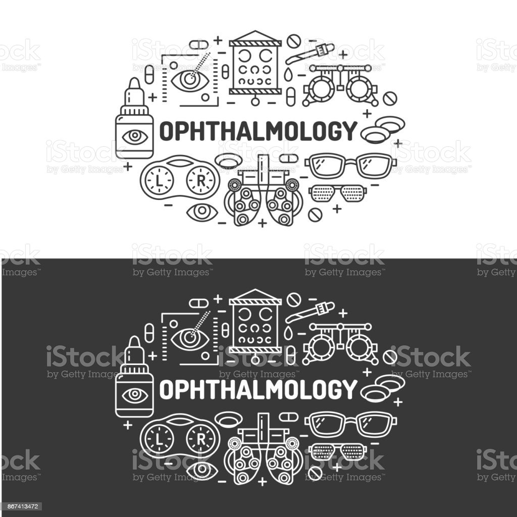 Ophthalmology, medical banner illustration. Eyes health care vector flat line icons of optometry equipment, contact lenses, glasses. Healthcare brochure, poster design. Isolated on white background vector art illustration