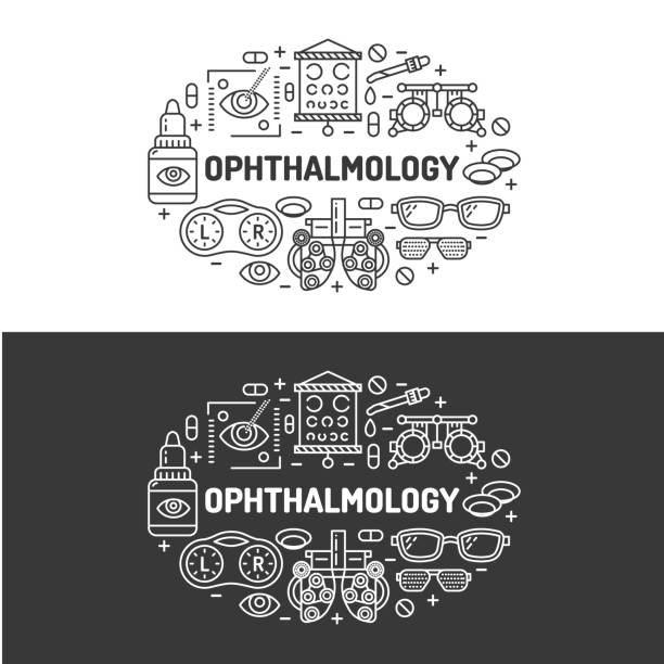 ophthalmology, medical banner illustration. eyes health care vector flat line icons of optometry equipment, contact lenses, glasses. healthcare brochure, poster design. isolated on white background - optometrist stock illustrations, clip art, cartoons, & icons