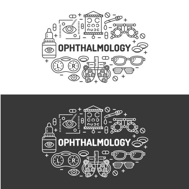 illustrations, cliparts, dessins animés et icônes de ophtalmologie, illustration de la bannière médical. yeux de santé vecteur ligne plate icônes de matériel d'optométrie, lentilles de contact, lunettes. brochure de soins de santé, conception de l'affiche. isolé sur fond blanc - opticien