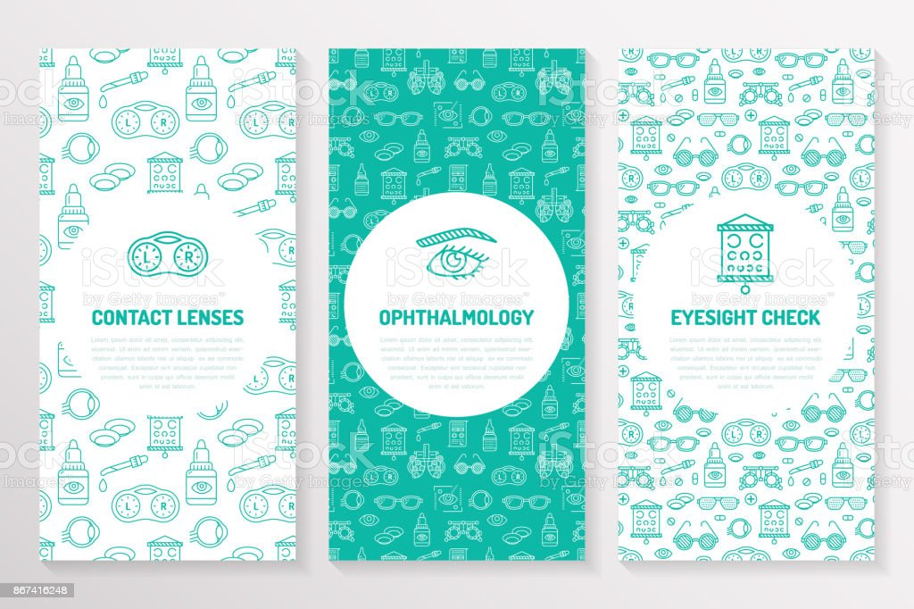 Ophthalmology, medical brochure template, flyer. Eye health care thin line icons contact lenses, eyesight check. Cute illustration for hospital poster. Vector trifold blue background vector art illustration