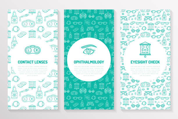 ilustrações de stock, clip art, desenhos animados e ícones de ophthalmology, medical brochure template, flyer. eye health care thin line icons contact lenses, eyesight check. cute illustration for hospital poster. vector trifold blue background - contacts