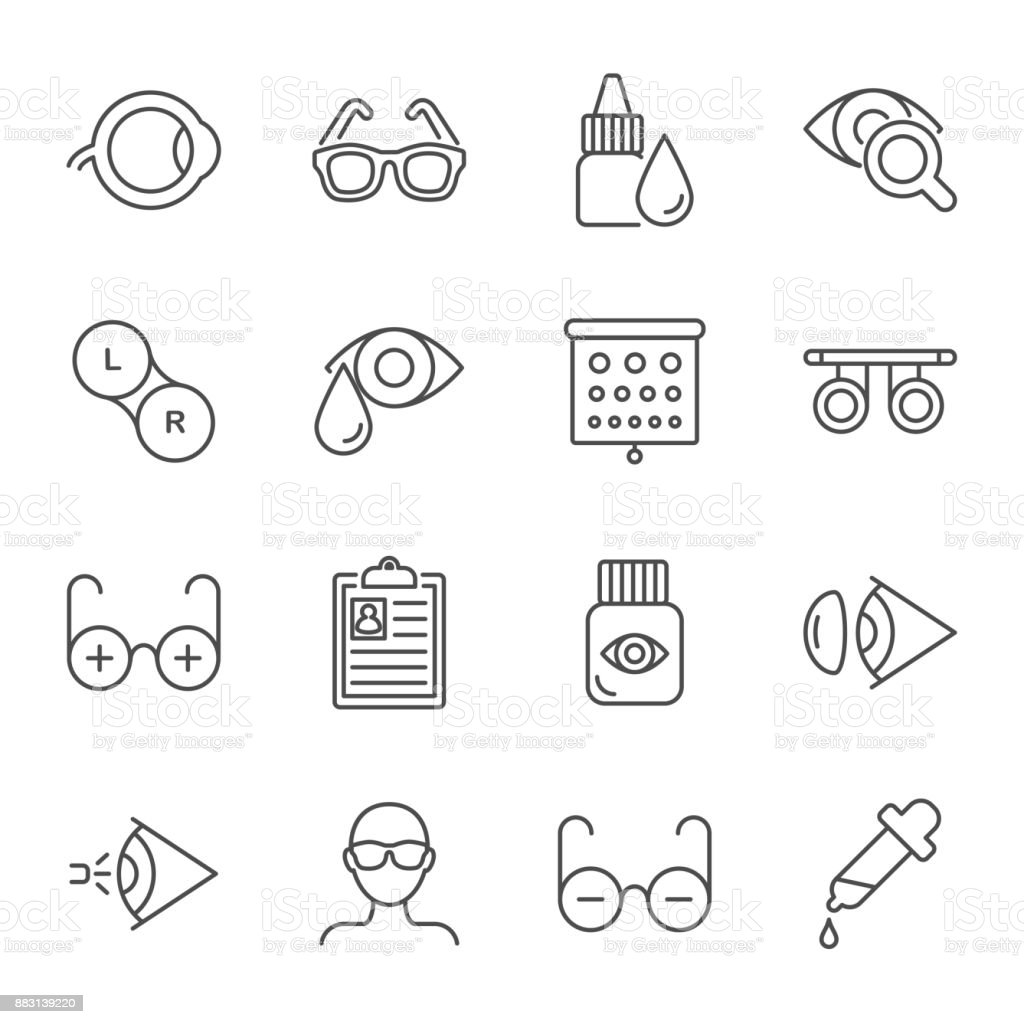 Ophthalmology vector icons set vector art illustration