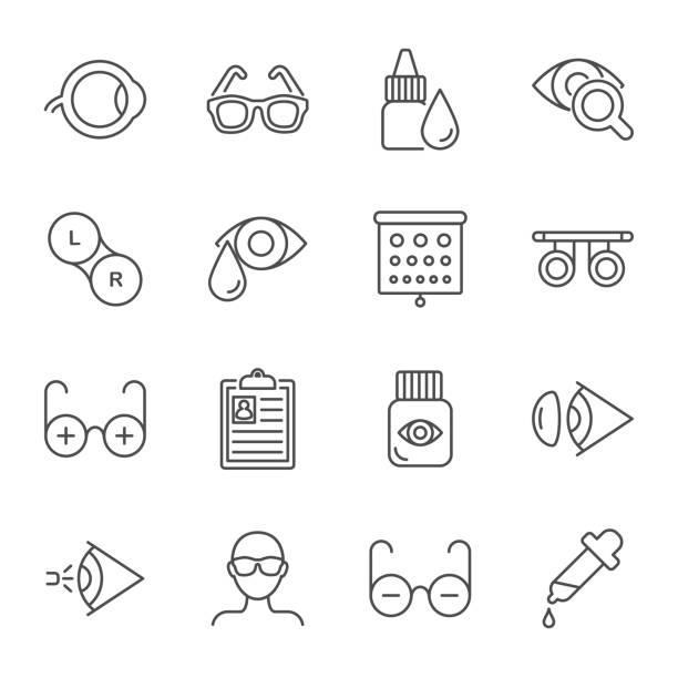 ilustraciones, imágenes clip art, dibujos animados e iconos de stock de conjunto de iconos de vector de oftalmología - optometrista