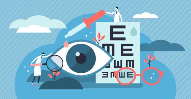 ophthalmology vector illustration. flat tiny eyes health persons concept. - оптометрия stock illustrations