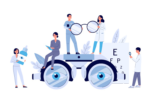 Ophthalmology web banner with tiny people flat vector illustration isolated.