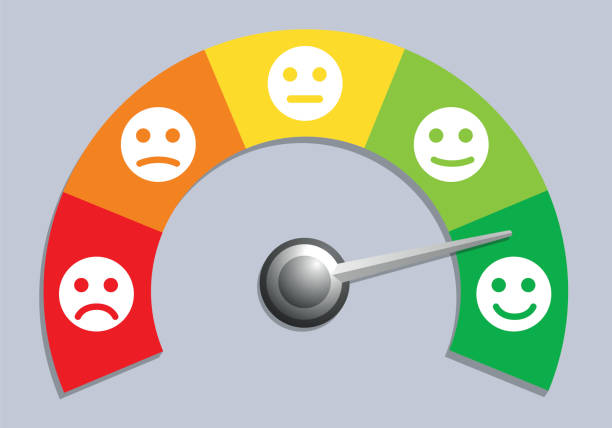 opinion poll concept with a graduate meter of satisfaction level. - credit score stock illustrations, clip art, cartoons, & icons