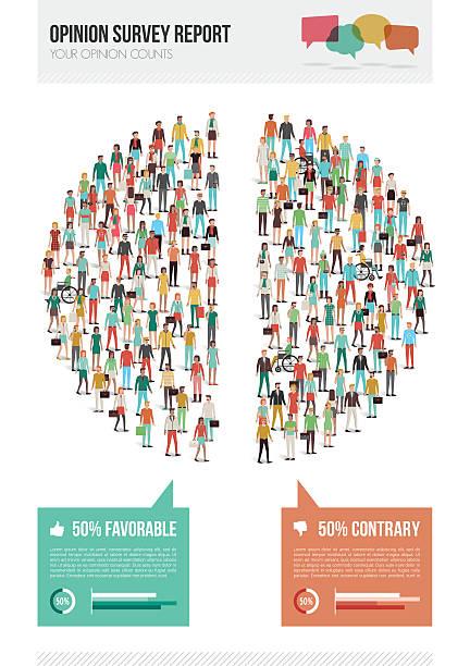 ilustraciones, imágenes clip art, dibujos animados e iconos de stock de estudio de opinión del informe - infografías demográficas