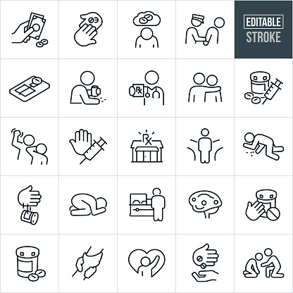 A set of opioid addiction and recovery icons that include editable strokes or outlines using the EPS vector file. The icons include selling and buying opioid drugs, one hand handing another hand pills, depressed person with opioid addiction, person under arrest, mouse trap with pill, person drinking and using prescription drugs, doctor giving prescription, person with arm around shoulder of an addict, pills with heroin, person hitting another person, hand saying no to drugs, pharmacy, fork in the road, person overdosed from pills, hand throwing pill bottle away, person that passed away in casket, brain on opioids, pills and pill bottle, clasped hands to represent hope, person helping another person to recovery and others.