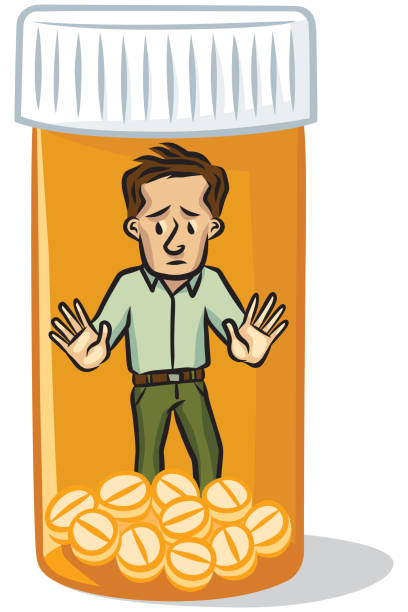 Opioid Addiction Man trapped in the world of prescription painkiller addiction - concept addict stock illustrations