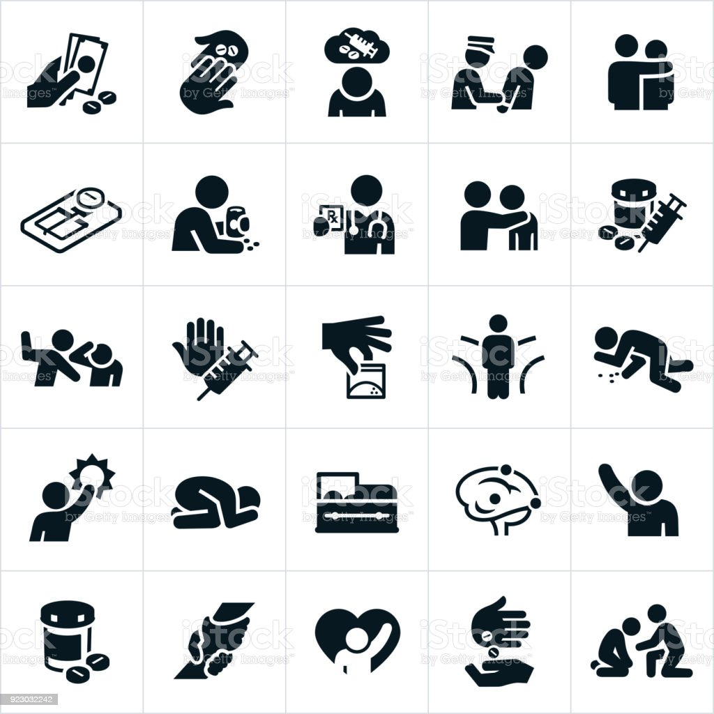 Opioids Crisis and Recovery Icons vector art illustration