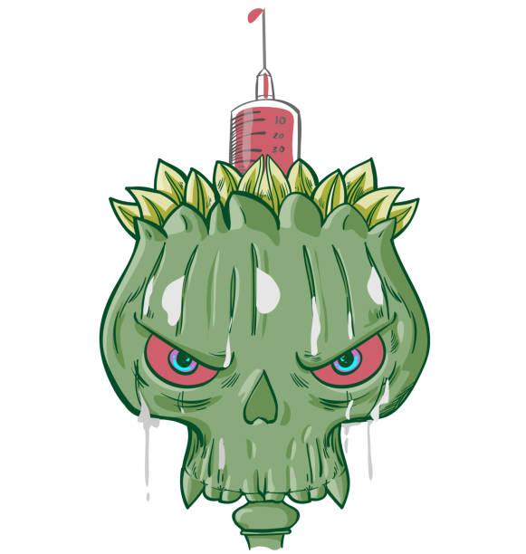 opium addiction with skulls and death symbols cartoon vector illustration vector art illustration