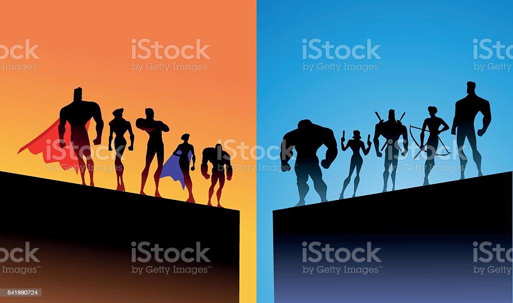 Opposing superheroes team vector art illustration