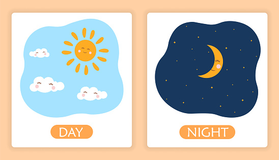 Opposite adjective words with day and night on white background