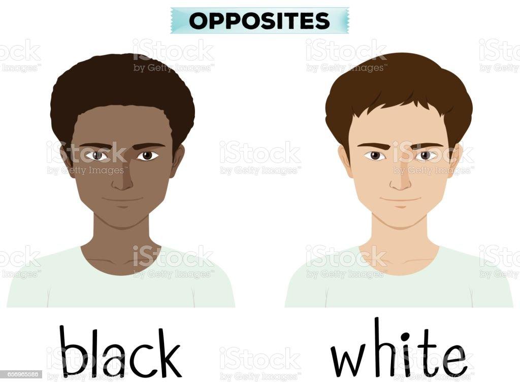 Opposite adjectives for black and white vector art illustration