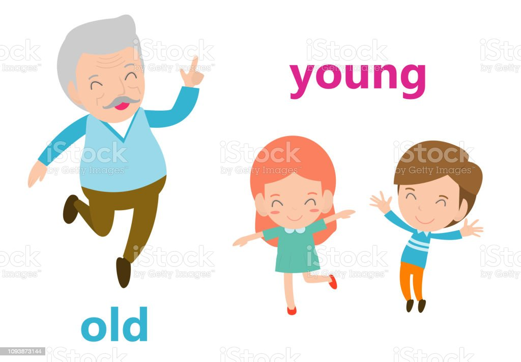 Opposite Adjectives Old And Young Illustration Opposite English Words Old  And Young Vector Illustration On White Background Stock Illustration -